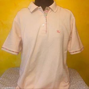 Auth Burberry Polo Shirt Top Floral Peach Sz Small